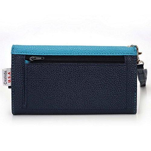 Kroo Pochette Téléphone universel Femme Portefeuille en cuir PU avec dragonne compatible avec Huawei Ascend P7Mini Multicolore - Violet/motif léopard Bleu - bleu