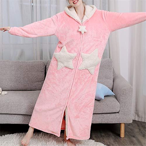 Damen Morgenmantel Kurz Bademantel Kimono Baumwolle Saunamantel Robe Mit V-Ausschnitt Sommer,Verdickung aus korallenrotem Samt und großformatige Flanell-Kapuze A-1 XL mit langem - Comic Kuh Kostüm