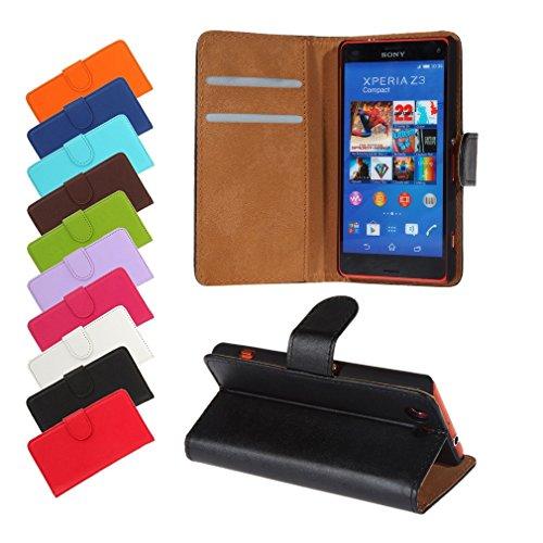 BRALEXX Sony Xperia Z3 (D6603/D6653) Bookstyle-Tasche Hülle Case Schutz SCHWARZ (zum Aufstellen, 2x Kartenfach, 1x Geldfach, Silikon-Rundumschutz-Innenschale) (Sony Xperia Z2 White Fall)