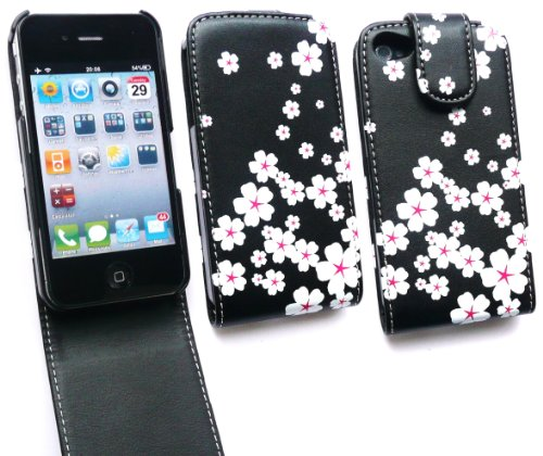 Emartbuy Value Pack Für Apple Iphone 4 4G 4Gs 4S Luxury Hd Flip Case / Cover / Pouch White Blossom + Kompatibel Kfz-Ladegerät + Lcd Screen Protector
