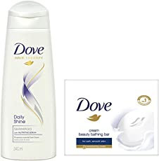 Dove Daily Shine Shampoo, 340ml with Cream Beauty Bathing Bar, 100g (Pack of 3)
