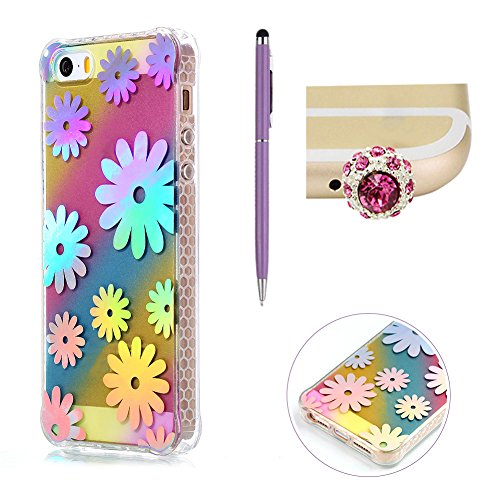 Custodia per iPhone 5S SE,SKYXD Lusso Luminosa Brillante Strass Pteris Rainbow Cover Trasparente Silicone Antiurto Case per Apple iPhone 5/5S iPhone SE con Brillantini Spina Della Polvere e Carino Sti Crisantemo
