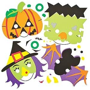 Kits de Masques Halloween en Mousse pour enfants à fabriquer et décorer pour Halloween (Lot de 4)