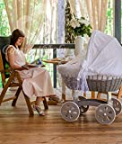 ComfortBaby HOME XXL Baby Stubenwagen mit Moskitonetz - komplette 'all inclusive' Ausstattung - Zertifiziert & Sicher (Grau-Weiß)