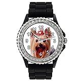 Timest - Yorkshire Terrier - Reloj de silicona negro para mujer con piedrecillas Analógico Cuarzo CSG061