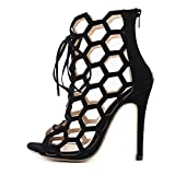 SANDALIAS Para Mujer Hollow Bandage Simple Fashion High Heels, Negro, 36
