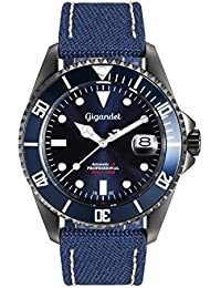 Gigandet Automatik Herren-Armbanduhr Sea Ground Taucheruhr Uhr Datum Analog Ledertextilarmband Blau G2-022