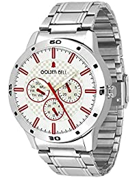 Golden Bell Original White Dial Silver Stainless Steel Chain Analog Wrist Watch For Men - GB-957