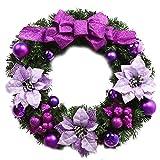 La Vogue Weihnachtskranz Türkranz Adventskranz Tannenkranz Weihnachtsdeko Durchmesser 50cm Lila