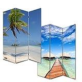 Mendler Foto-Paravent Paravent Raumteiler Trennwand M68~180x120cm, Strand