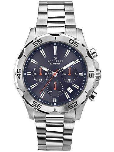 Reloj de pulsera analógico Accurist con cronógrafo para hombre, esfera de color morado, correa de acero inoxidable de color plateado (7024)