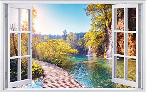 DesFoli See Natur Landschaft 3D Look Wandtattoo 70 x 115 cm Wanddurchbruch Wandbild Sticker Aufkleber F360