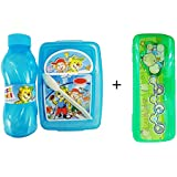 Baal Lunch Box With Water Bottle With Free Pencil Box For Students Kids, Multicolor, 35 Grams, Pack Of 1