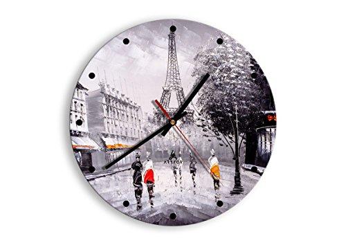 Horloge Murale - Ronde - Horloge en Verre - Pendule murales - 30x30cm - 2961 - Mécanisme d'écoulement - Silencieux - prete a Suspendre - Moderne - Décoration - Pret a accrocher - C2AR30x30-2961