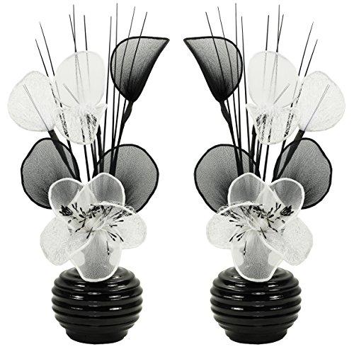 Passende Paar Weiß Künstliche Blumen Mit Schwarz Vase, Dekor, Wohnaccessoires & Deko Geeignet für Bad, Schlafzimmer Oder Küche Fenster / Regal, 32cm