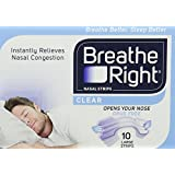 Breathe Right Nasal Srips, Large - Clear (10 Pack)