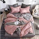 SHJIA Superfeinfaser Bettwäsche Set Bettlaken Bettbezug Kissenbezug Kombination Bettbezug Bettwäsche Rosa 200x230cm