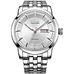 BUREI® Men's Luminous Day and Date Automatic Watch with Silver Link Bracelet, Silver Bezel White Dial