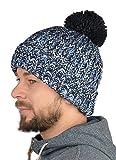 Herren Strickmütze mit Bommel, Warme Herren Mütze, Wintermütze, Umschlagmütze mit Innenfleece - Farbe Navyblau