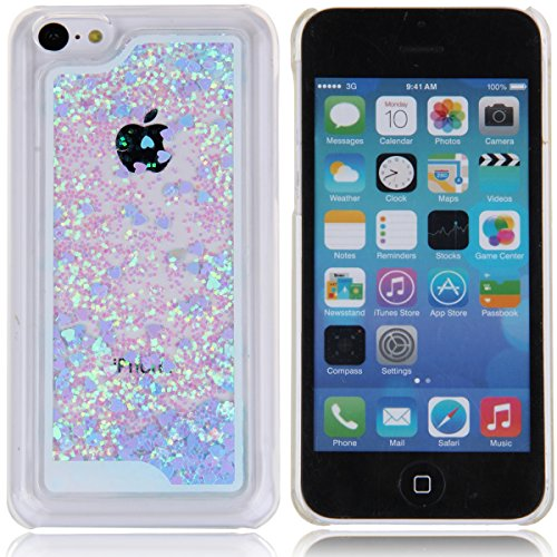 iPhone 5C Hülle,iPhone 5C Case [Scratch-Resistant], ISAKEN iPhone 5C Ultra Slim Perfect Fit Kreativ Design Liquid Fließen Flüssig Schwimmend Love Herz der Liebe Bling Luxus Shiny Glanz Sparkle Kristal Love Heart Blau