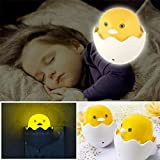 CGT Cute Duck Eggshell Wall Socket LED Sensor Control Night Light Lamp For Kids Bedroom