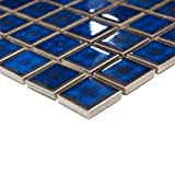 Tiles mosaic tile Ceramics Square Bathroom Plain Cobalt Blue Border New # 215