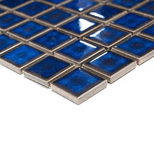 azulejos mosaico mosaico azulejos cerámica cuadrado baño Uni Azul Cobalto cenefa nuevo # 215