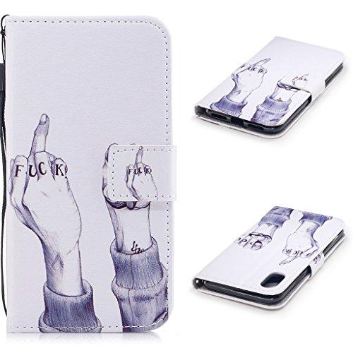 iPhone 8 Hülle,Fodlon® Mode Gemalt Karte Schlitze mit Schlüsselband Telefon Schutzhülle -Grüne Blätter Scheiße