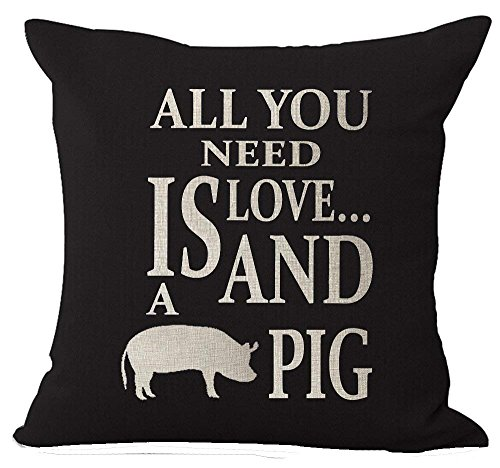 Bag shrots Nordic Style Wildlife Animal Lovers Sweet Warm Saying All You Need is Love and Pig Cotton Linen Decorative Throw Pillow Case Cushion Cover Square 18