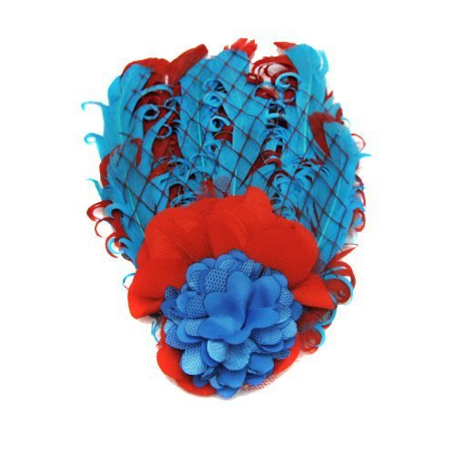 Baby Girls Headdress Cute Feather Grid Flowers Headwear Elastic Headband (Red & Blue) by USA (Usa Headwear)