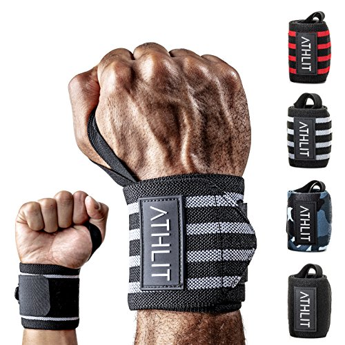 ATHLIT Handgelenk Bandagen (45cm) 2er Set + Gratis Tasche - Sport Handgelenkbandage [Wrist Wraps] für Crossfit, Kraftsport, Bodybuilding & Fitness - 2 Jahre Gewährleistung -