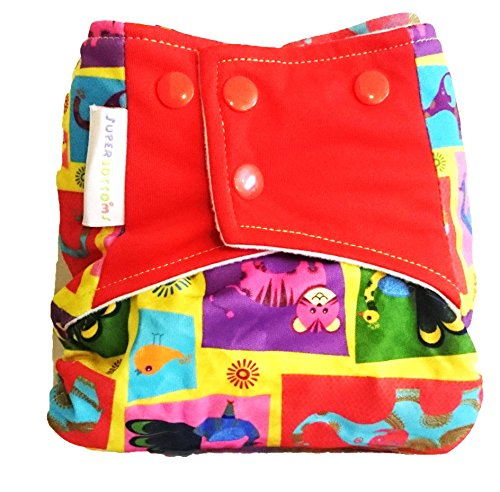 Superbottoms Cloth Diaper - NEW TRIM Indian Motifs Pocket Diaper with Double-Leak Guards and Soaker (Insert)