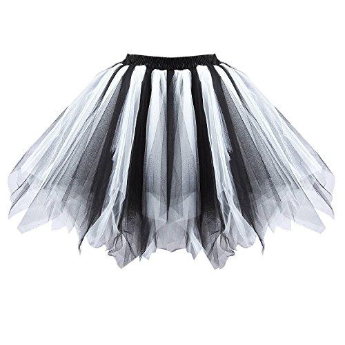 utu Unterkleid Rock Abschlussball Abend Gelegenheit Zubehör Schwarz und Weiß A520626120110 (Halloween Kostüm Weiße Spitze Kleid)