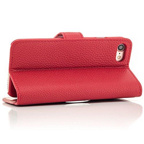 Saxonia Coque iPhone 7 Housse Etui Flip avec Poche intérieur Wallet Haute qualité Rouge