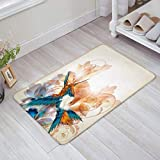 Retro Colorful Bird Abstract Flowers Print Doormat Welcome Mat Entrance Mat Indoor/Outdoor Door Mats Floor Mat Bath Mat 31.5 x 19.5 inch