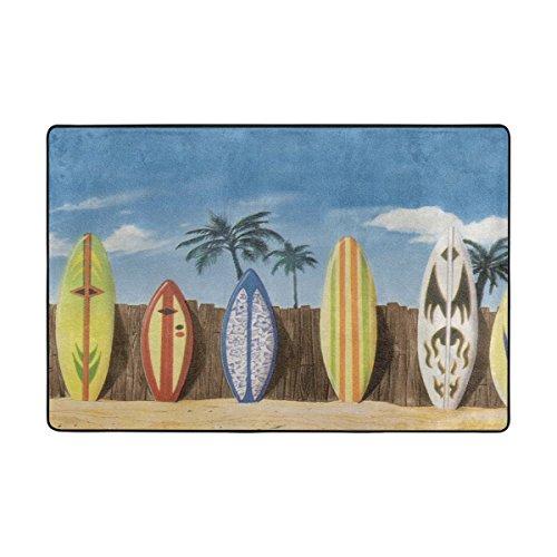 LIANCHENYI Beach Surfbrett mit Palmen rutschfeste Fußmatte Bereich Teppich Teppich Fußmatten Fußmatte Indoor Outdoor Badezimmer 91,4x 61cm (Outdoor-palmen)