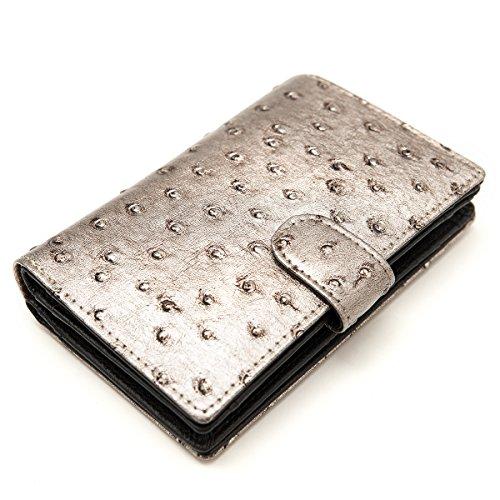 Portafoglio, Portemonnaie, Donna, pelle, taglia M & L, Mod. 5016 by Fashion-Formel Argento taglia M