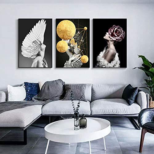 Homeofying Ungerahmtes Gemälde mit Federblume und Frau, modernes Deko-Poster, 21 x 30 cm, Holz, 2#, 30 * 40cm