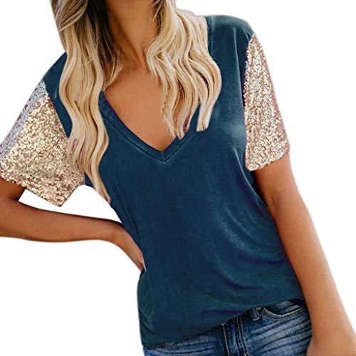 Andouy Tops Shirt Frauen Pailletten Sparkly Farbe Kurzarm Raglan Gr.34-42 Damen Lässige Party T...
