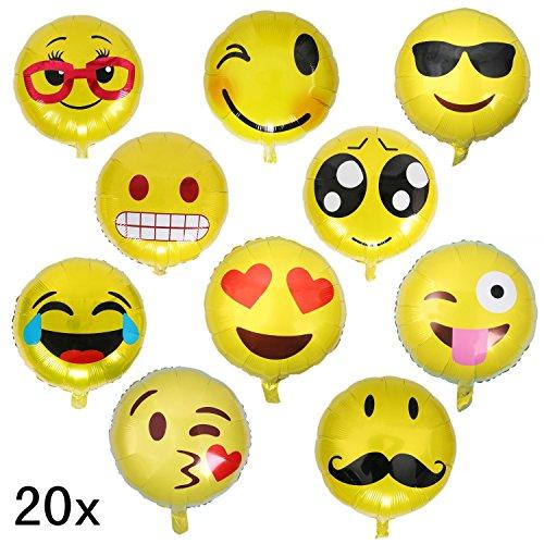 JZK® 20 x 33cm gelb Emoji Gesichter Ballons Emoticon Smiley Heliumballons Lustige Luftballon, Dekoration Zubehör für Valentinstag Verlobung Geburtstag Party Hochzeit