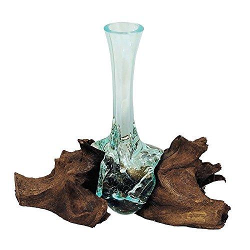 Beho Natürlich gut in Holz Mini aus Glas auf Teak 2831 tolle Geschenkidee Höhe ca. 25 cm Wurzelholz mundgeblasen