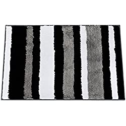 Top Finel Rayas alfombra decorativa refuerzo de goma antideslizante Felpudo área entrada mats para Baño Dormitorio cocina 50x80cm Negro