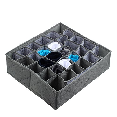 Hukz Antibakterielle Aufbewahrungsbox,30 Zellen Bambuskohle Krawatten Socken Schublade Closet Organizer Aufbewahrungsbox (Grau)