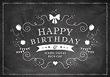 'Happy Birthday - Schön, dass es Dich gibt' Glückwunschkarte zum Geburtstag (Grußkarte/Klappgrusskarte/Liebe/Geburtstagskarte) in schwarz im'Retro-Kreide-Tafel-Look' (Mit Umschlag)