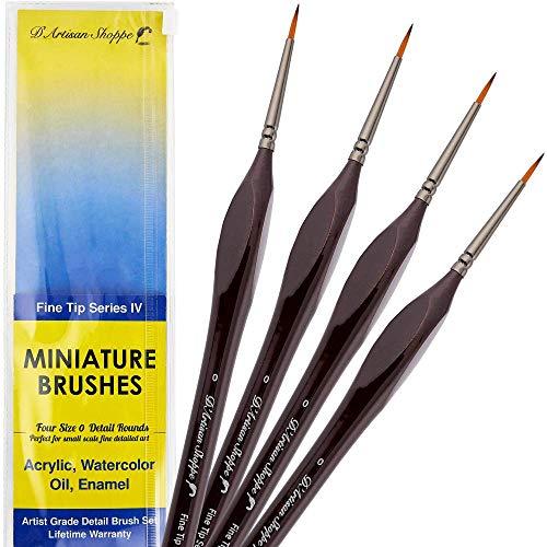 Pinsel-Set für feine Details. Miniatur-Pinsel-Set für Aquarell-Öl-, Acryl-, 4-teiliges Set Größe 0 runde Künstlerpinsel für DND-Miniatur-Figuren (Malen Miniaturen Reaper)