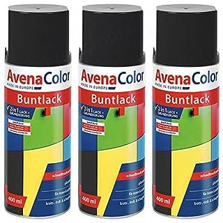 3 x Avena Color 2in1 Buntlack Spraydose Lackspray Schwarz