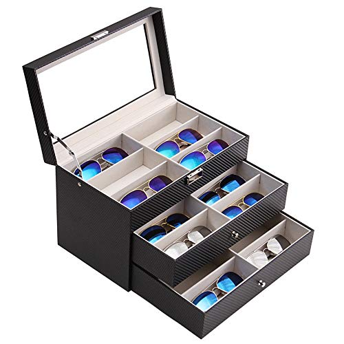 GLJ DREI-Schicht-Aufbewahrungsbox Für 18-Brillen-Gläser Sonnenbrillen-Präsentationsbox Brillenaufbewahrung, Schwarz Schmuckkästchen