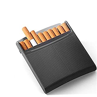 Stylish Charcoal Black Stainless Steel Cigarette Case - Can Hold 10 Cigarettes