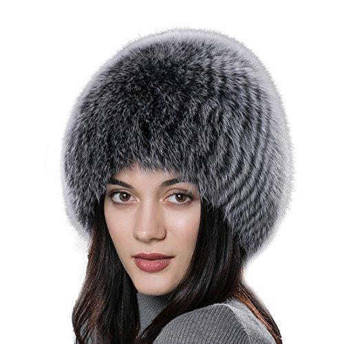 URSFUR Frauen Flaumige Echte Fuchspelz Fellmütze Fell Kopfbedeckung Wintermütze Fell Perücke Pelzmütze - color 11