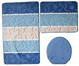 Orion Badgarnitur 3 tlg. Set 50x80 cm Blau WC Vorleger ohne Ausschnitt geprüft nach OEKO-TEX Standard 100